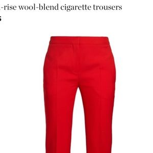 Theory cherry red wool-blend cigarette trousers